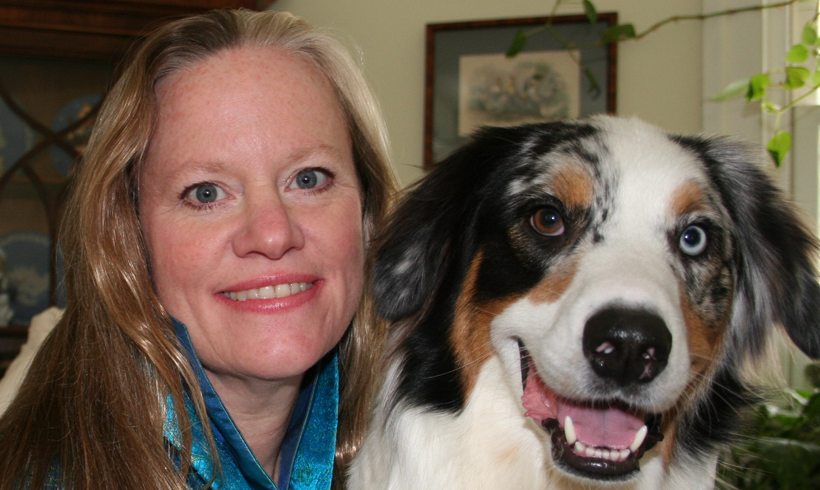 Karen Overall creator of the Relaxation Protocol and her dog Toby